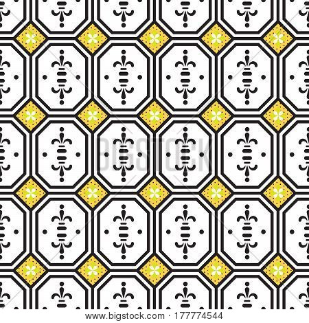 Ceramic tiles mediterranean seamless pattern. Geometric retro shapes vector texture for ceramic design, textile and wallpaper.