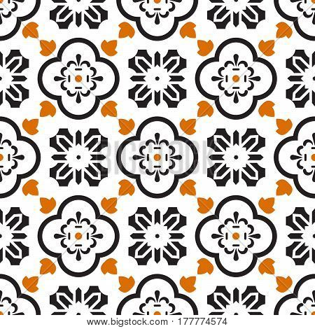 Ceramic black and white mediterranean seamless tile pattern. Geometric arabic shapes vector texture for textile and wallpaper design.