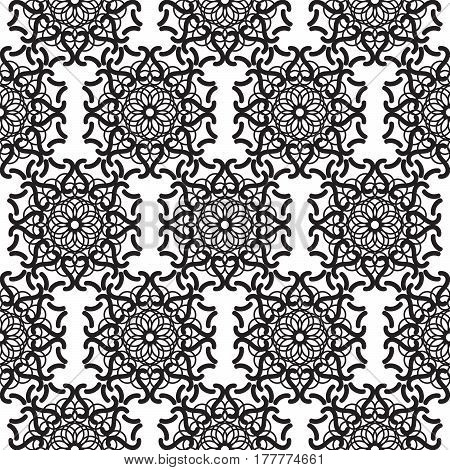 Mandala lace black seamless vector pattern. Abstract openwork surface background.