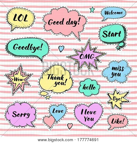 Hand drawn set of speech bubbles with dialog words: Hi Love Sorry Welcome Bye. Vector illustration for stickers