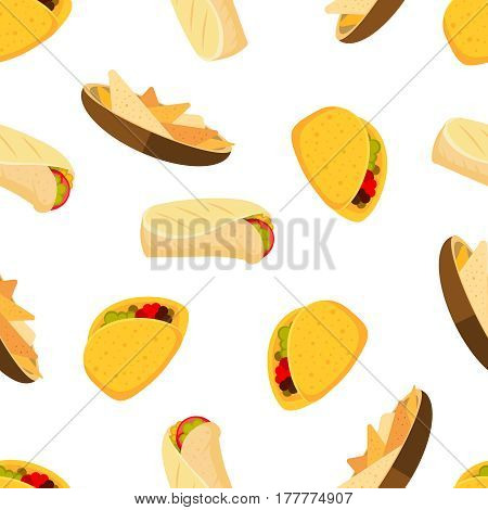 Mexican food tacos burrito and nachos vector seamless background. Pattern with cartoon mexican nacho burrito and taco, illustration of mexican background with tasty food