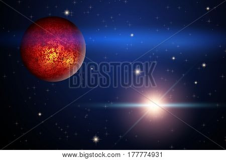 The Planet Mars and bright star in space. Abstract scientific background.