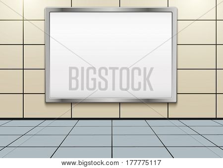 Empty mockup billboard inside metro or subway. Industrial Illustration