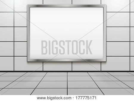 Empty mock-up big billboard inside metro or subway. Industrial Illustration