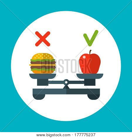 Diet food balance, healthy vector concept with apple and hamburger on scales. Burger or apple, illustration of choice red apple and fast food