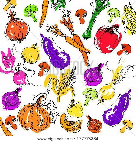 vector, food, healthy, carrot, pepper, vegetable, collection, onion, vegetarian, fresh