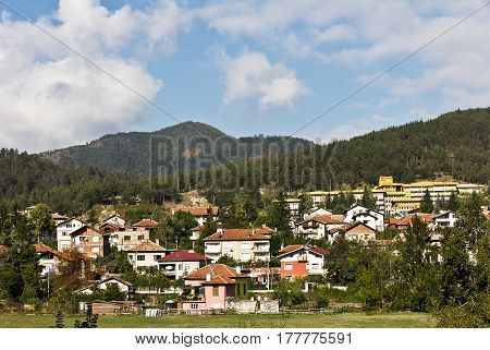 Panorama of a sity in Velingrad in Rhodope Mountains in Bulgaria