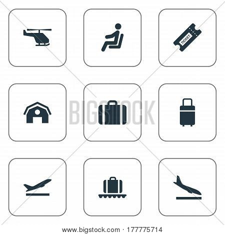 Vector Illustration Set Of Simple Transportation Icons. Elements Garage, Luggage Carousel, Travel Bag And Other Synonyms Landing, Coupon And Bag.
