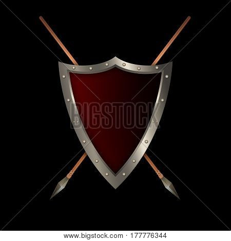 Anticue shield with riveted border and two spears on black background.
