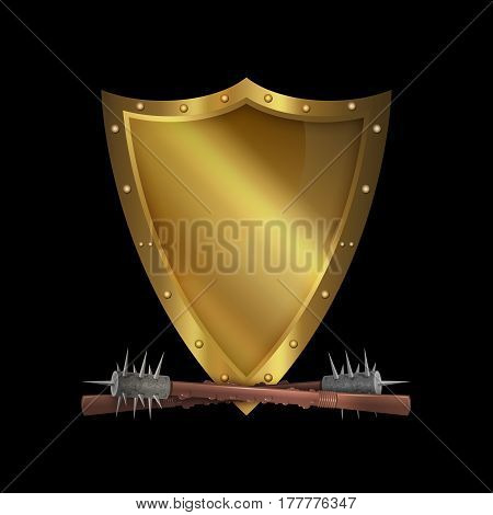 Medieval riveted shield with two maces on black background.