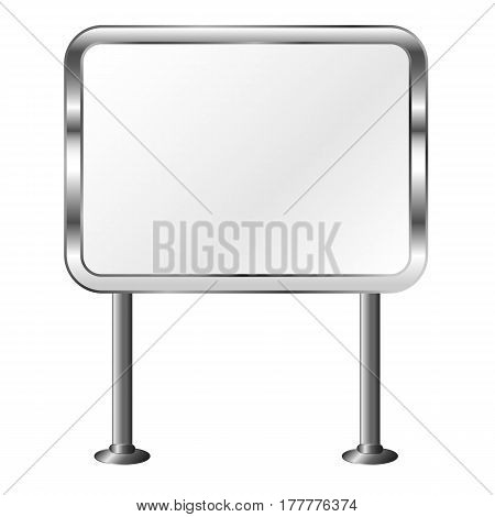 Board in a metal frame. Outdoor billboard. Silver signboard. Isolated vector illustration.