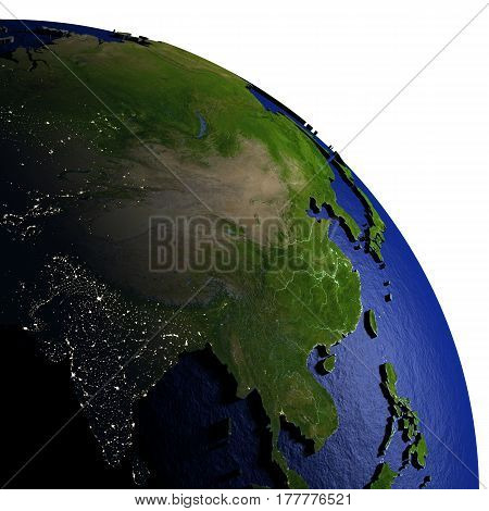 Southeast Asia On Model Of Earth With Embossed Land