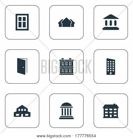 Vector Illustration Set Of Simple Architecture Icons. Elements Academy, Glazing, Residential And Other Synonyms Museum, Gate And Open.