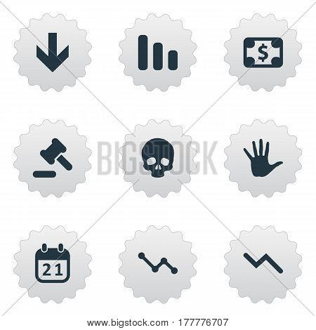 Vector Illustration Set Of Simple Impasse Icons. Elements Tribunal, Graph Decreases, Info Graph And Other Synonyms Skull, Money And Bone.