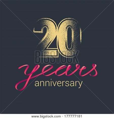 20 years anniversary vector icon logo. Graphic design element with golden glitter stamp for decoration for 20th anniversary