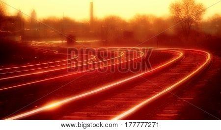 Sunset Railroad Tracks