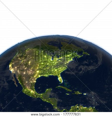 Central And North America At Night On Planet Earth