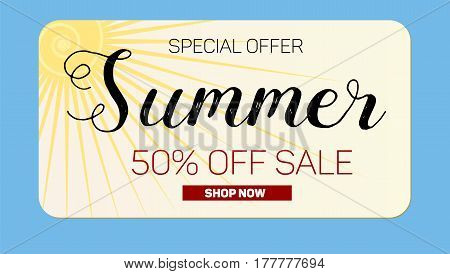 Advertising banner sales with typography. Summer sale 50 percent discount, buy now. Advertising in retro style on blue background with bright yellow sun