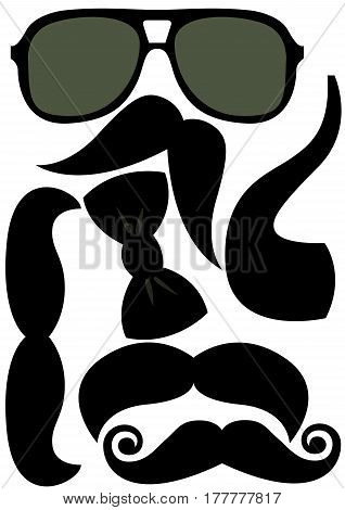 Party accessories man set - glasses, mustache, pipe - for design, photo booth, scrapbook in vector