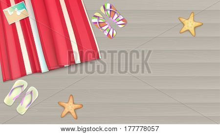 Top view, towel, beach Mat lies on a light wooden background near the starfish, slippers and photo. Summer, beach, background with photo, starfishes and copyspace, illustration