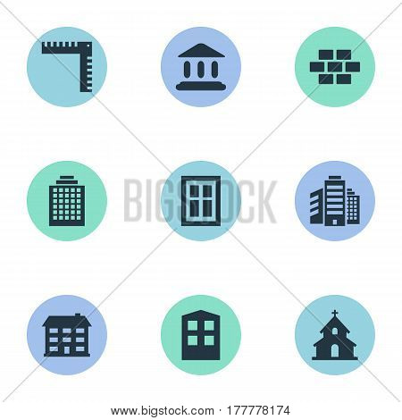 Vector Illustration Set Of Simple Architecture Icons. Elements Superstructure, Offices, Length And Other Synonyms Home, Ruler And Superstructure.