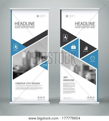 Abstract composition. White roll up brochure cover design. Info banner frame. Text font. Title sheet model set. Modern vector front page. City view brand flag. Triangle figures icon. Ad flyer