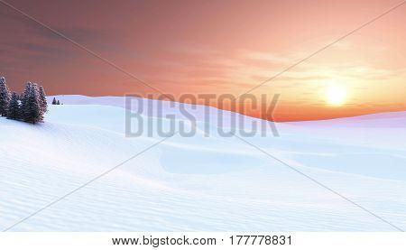 Sunset in winter landscape, Christmas background , 3D illustration