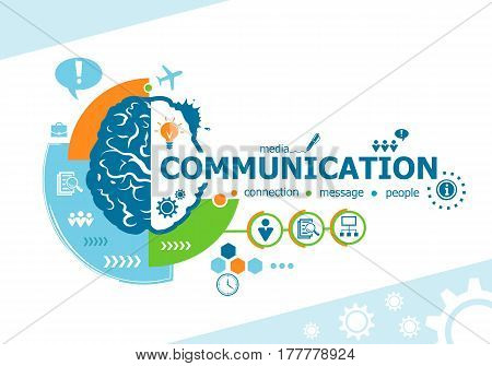 Communication Related Words And Brain Concept.