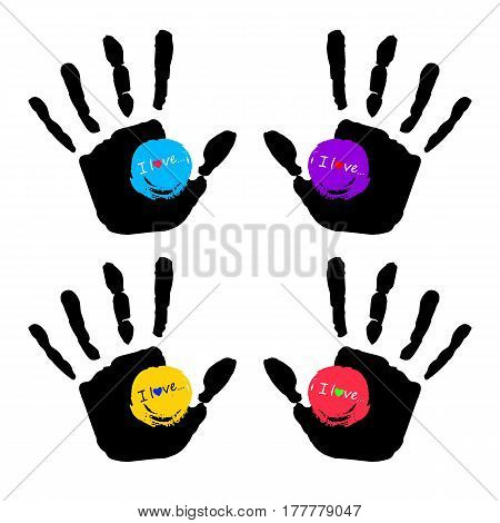 vector color hand handprint human print symbol