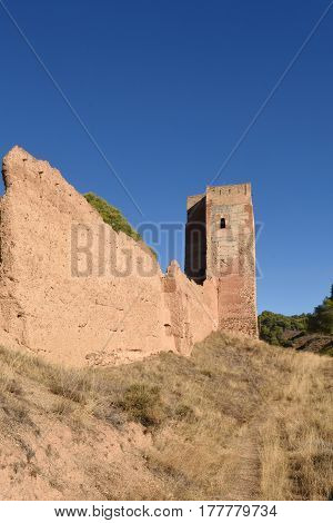 Walls and el Jaque tower Daroca Zaragoza province Aragon Spain