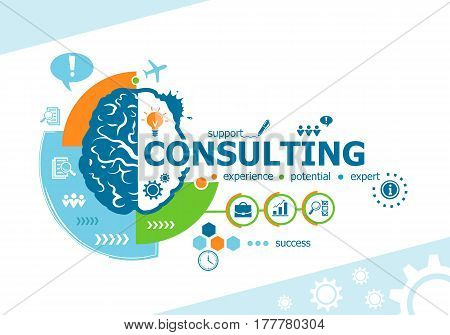 Consulting Related Words And Brain Concept. Infographic Business.