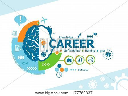 Career Related Words And Brain Concept. Infographic Business.