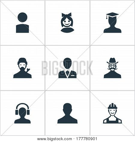 Vector Illustration Set Of Simple Member Icons. Elements Girl Face, Male With Headphone, Insider And Other Synonyms Insider, Little And Graduate.