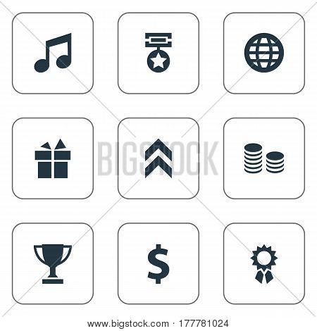 Vector Illustration Set Of Simple Awards Icons. Elements Medal, Money, Trophy And Other Synonyms Victory, Cash And Money.