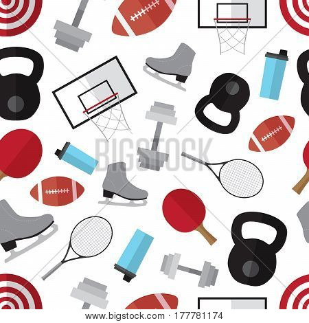 Seamless pattern background with simple sport equipment  flat icons vector illustration