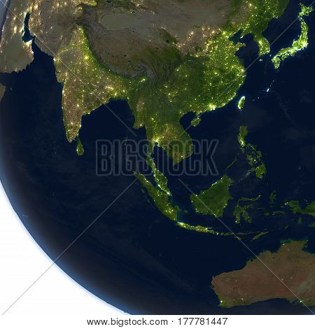 Southeast Asia At Night On Planet Earth