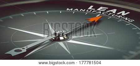 3D illustration of a compass with needle pointing the text lead manufacturing. Concept of industry and productivity consulting.