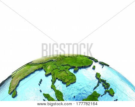 Indochina On Model Of Earth