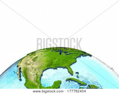 North America On Model Of Earth