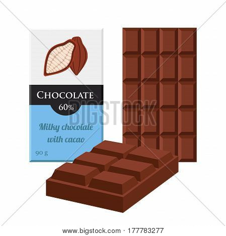 Chocolate bar. Cacao label package. Sweet milky product. Cartoon flat style