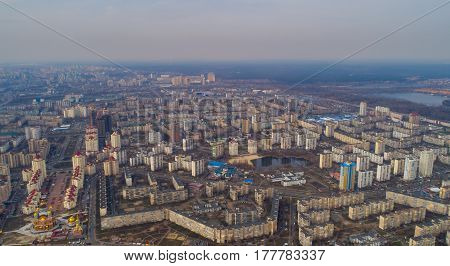 View of Kiev Ukraine. View from the top of the Dnieper and Obolon area