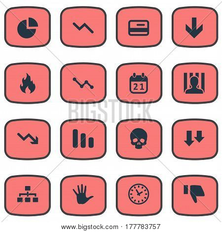 Vector Illustration Set Of Simple Situation Icons. Elements Graph Decreases, Finger Below, Descending And Other Synonyms Work, Reminder And Chart.