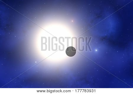 Planet and big star with milky way background. 3D render / illustration.