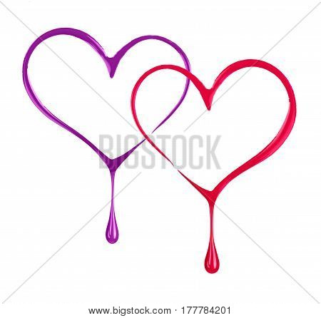 Stylized two hearts with drops made with nail polish on white background