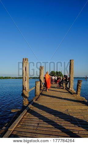 Ubein Bridge At Sunrise In Mandalay, Myanmar