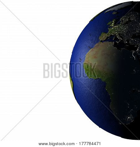 Europe And Africa On Model Of Earth With Embossed Land