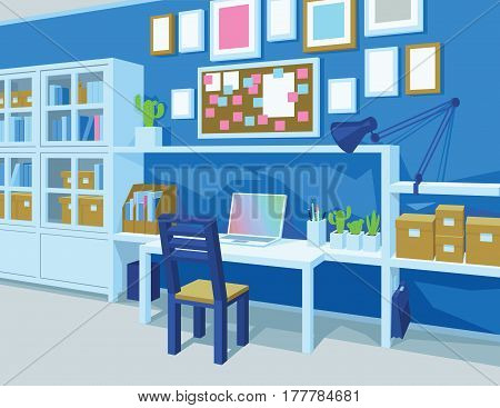 Interior of workroom in cartoon style. Perspective. Homeoffice in Blue Color. Workplace with desk, laptop, board with notes, frames, cupboard, books, boxes, lamp, chair. Scene for artworks Vector illustration