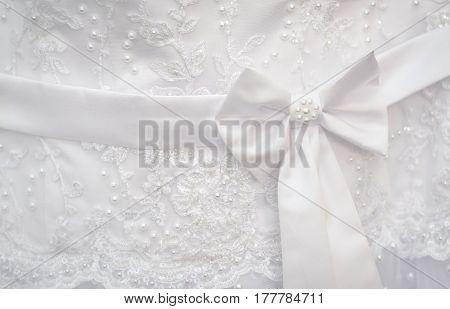 Beautiful white belt with bow fishnet wedding bridesmaid dress