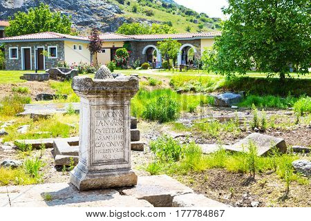 Greek St. Lydia first European Christian, baptistry church yard with ancient stone in Lydia, Philippi, Greece