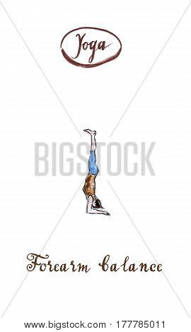 Woman practicing in yoga Forearm balance pose watercolor hand drawn - Illustration